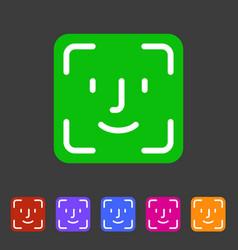 face id icon flat web sign symbol logo label vector image