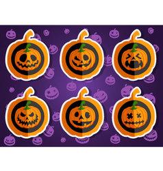 Face pumpkins for halloween set 1 vector