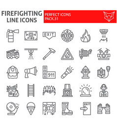 firefighter line icon set fireman symbols vector image