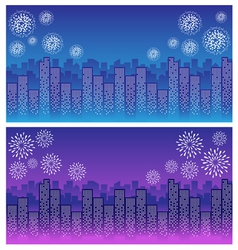 Firework over sky in city night vector