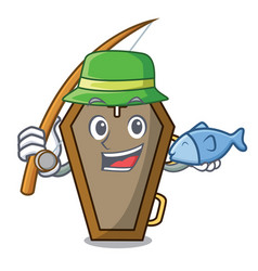 Fishing coffin mascot cartoon style vector