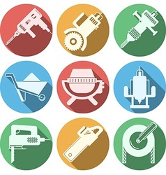 Flat icons for construction equipment vector image