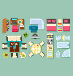 Flat interior top view pieces of furniture design vector