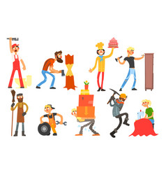 flat set with people of different vector image