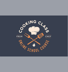 food logo logo for cooking school class vector image
