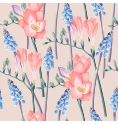 Freesia and muscari seamless background vector