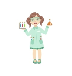 Girl dressed as chemist holding test tubes vector