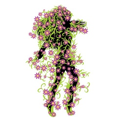 Girl with green floral and flowers vector image
