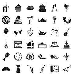 Good banquet icons set simple style vector