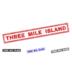 Grunge three mile island textured rectangle vector