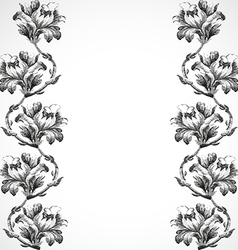 Hand-drawn vertical border flowers of lily vintage vector