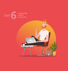 handsome designer man is working at his laptop vector image