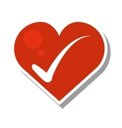 Heart with check icons vector