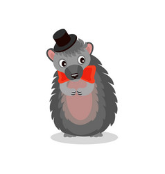 hedgehog wearing black hat and red bow tie cute vector image