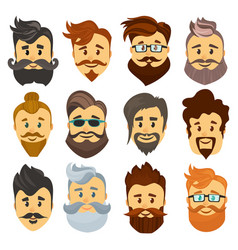 hipster barbershop cartoon european people with vector image