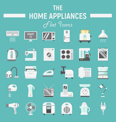 home appliances flat icon set technology symbols vector image