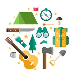 Icons and in Flat Design Style Tourists Equipment vector