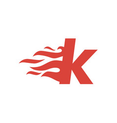 K letter lowercase fire flame hot logo icon vector