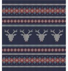 Knitted texture on blue background with deers vector