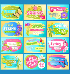 Labels set super offer spring sale adverts flowers vector