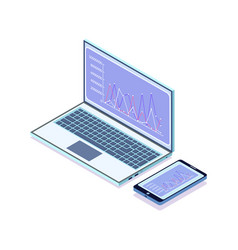 laptop with infographics and charts smartphone vector image