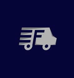 letter f delivery van creative logo design vector image
