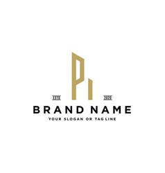 Letter p build logo design vector