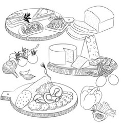 line art various sandwiches and slicing vector image