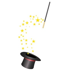 Magic hat and wand vector image