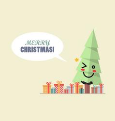 merry christmas with christmas tree character vector image