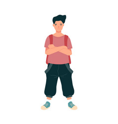modern teenage student standing with backpack vector image