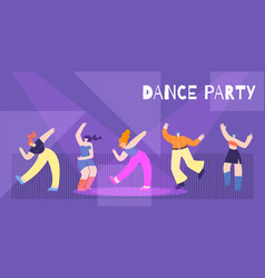motivation dance party flat card banner template vector image