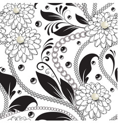 Ornamental floral black and white seamless vector