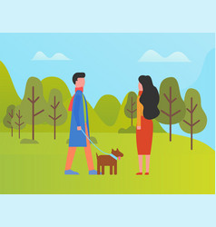 people in spring park walking with dog on leash vector image
