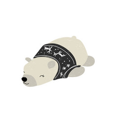 polar bear sleeping in sweater vector image