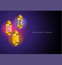 ramadan kareem greeting with colorful lights from vector image