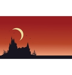 Red backgrounds Halloween castle silhouette vector