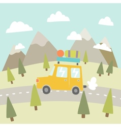Road trip Mountain landscape vector image