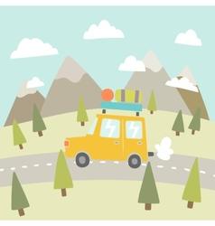 road trip mountain landscape vector image