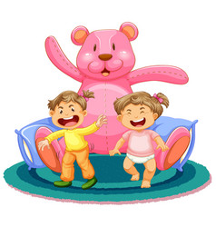 Scene with two baby girls and giant teddy bear vector