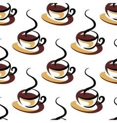 Seamless pattern of coffee cups with steam vector