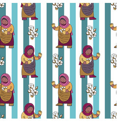 Seamless pattern with cotton bolls collector vector