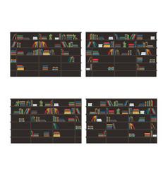 Set bookshelves filled with books flat vector
