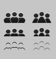Set of different balck and white icons of men and vector