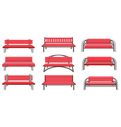 Set park benches vector