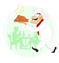 Smiling cook holding plate with roast chicken vector