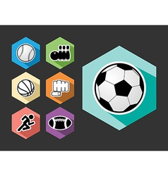 Sports elements flat icons set vector image