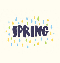 spring word handwritten with modern calligraphic vector image