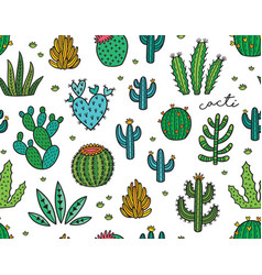 succulent colorful seamless pattern hand drawn vector image
