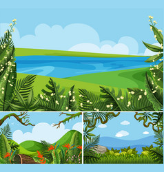 Three scenes of nature at daytime vector